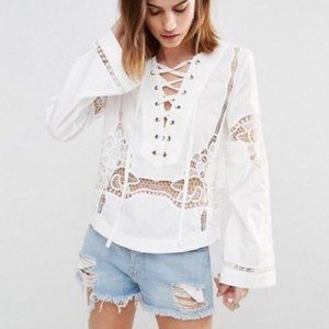 Free People Bittersweet Bell Sleeve Lace-Up Blouse